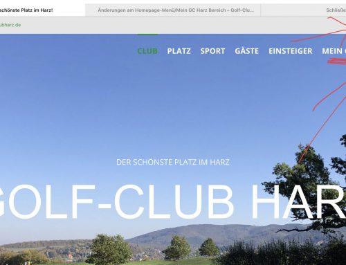 Änderungen am Homepage-Menü/Mein GC Harz Bereich